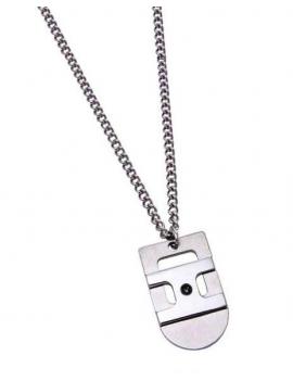 Gioielli ZABLE Collana Uomo in acciaio con piastra rettangolare e pietra onice
